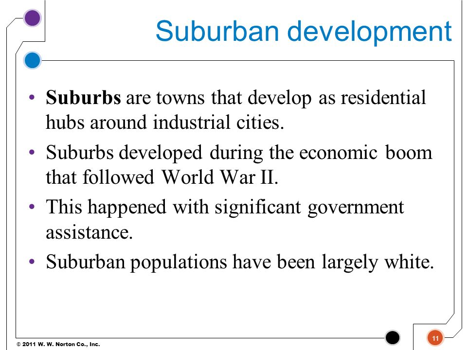 Suburban development Suburbs are towns that develop as residential hubs around industrial cities.