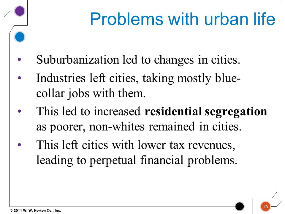 Problems with urban life