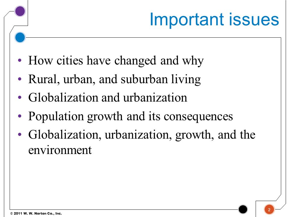 Important issues How cities have changed and why