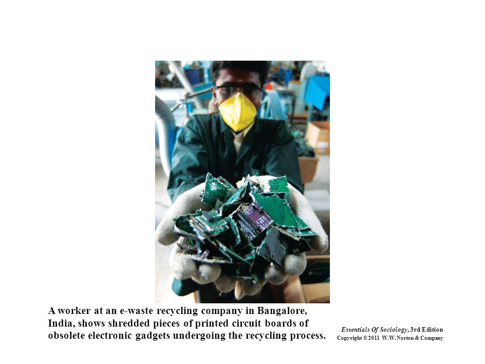 A worker at an e-waste recycling company in Bangalore,