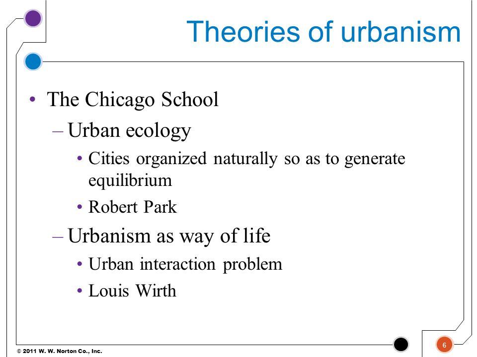 Theories of urbanism The Chicago School Urban ecology