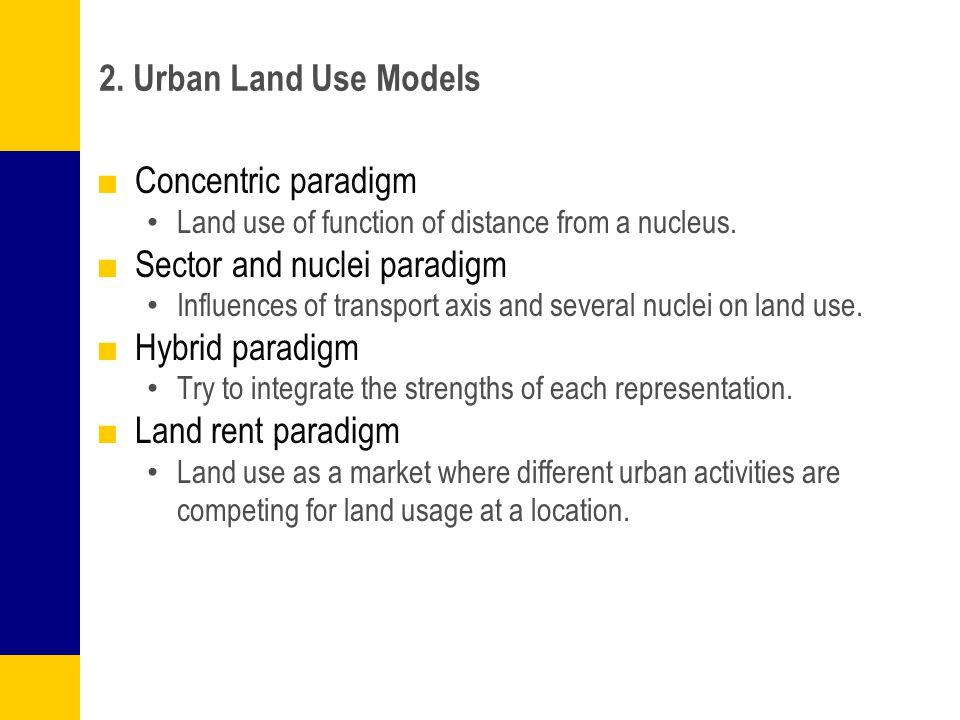 Sector and nuclei paradigm Hybrid paradigm Land rent paradigm