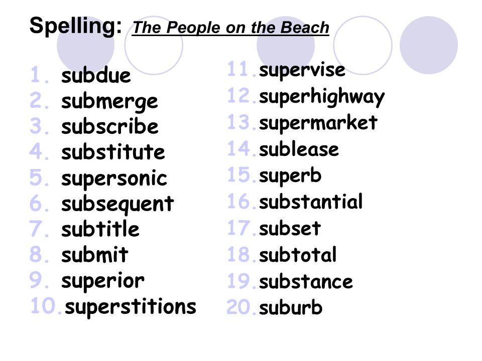 Spelling: The People on the Beach