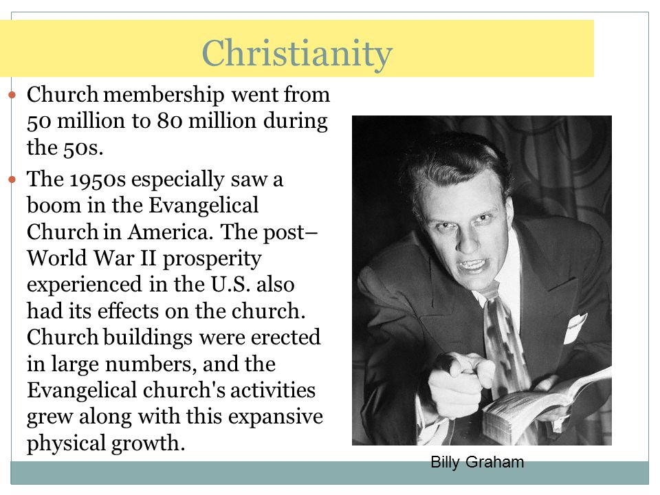 Christianity Church membership went from 50 million to 80 million during the 50s.