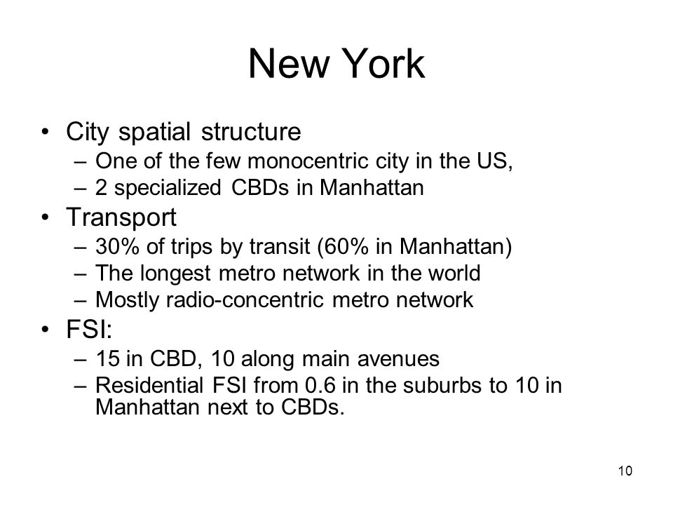 New York City spatial structure Transport FSI: