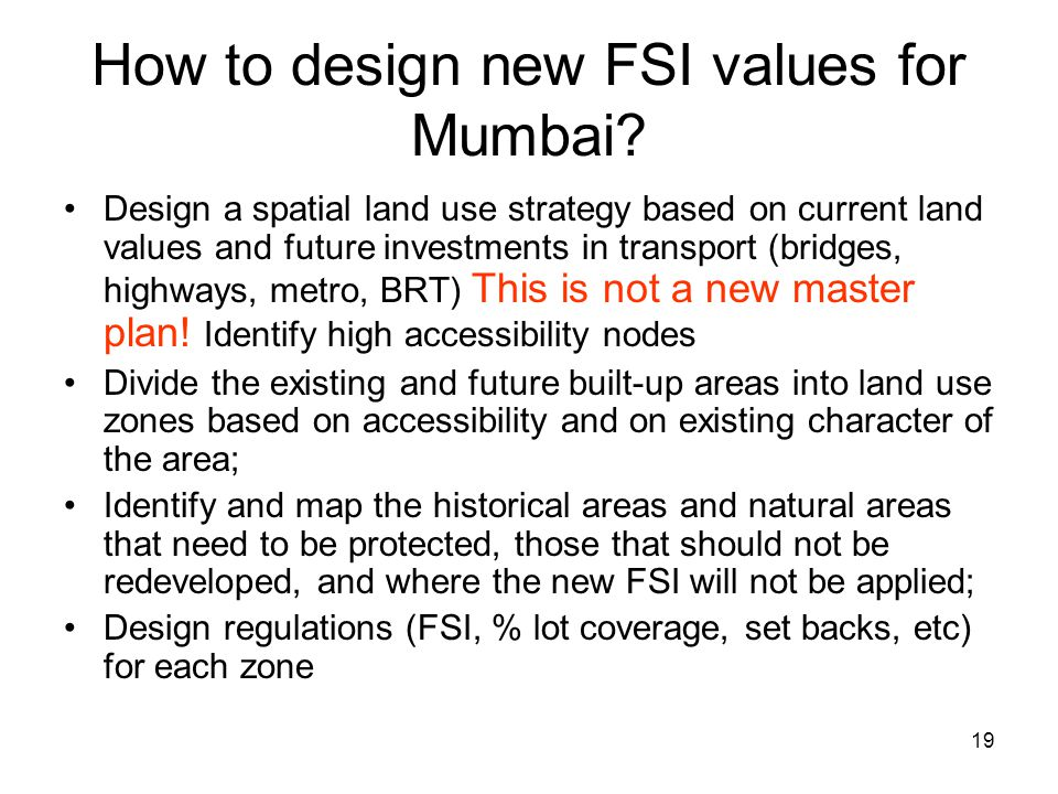 How to design new FSI values for Mumbai