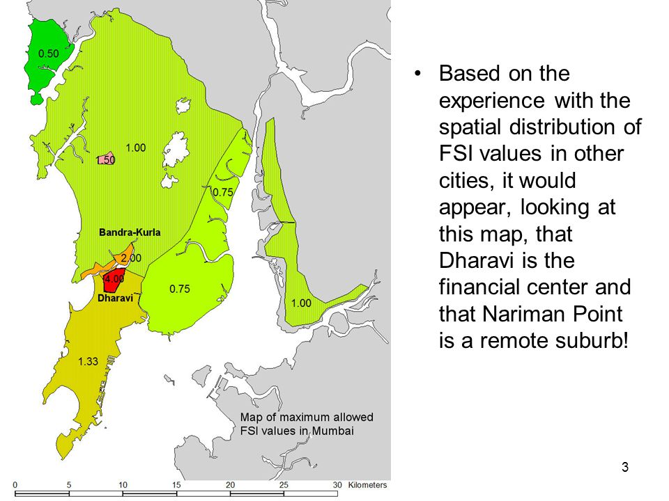 Based on the experience with the spatial distribution of FSI values in other cities, it would appear, looking at this map, that Dharavi is the financial center and that Nariman Point is a remote suburb!