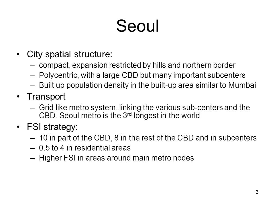 Seoul City spatial structure: Transport FSI strategy: