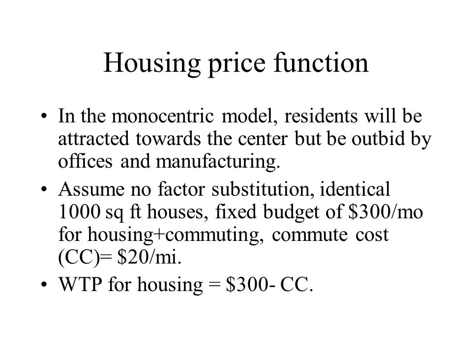 Housing price function