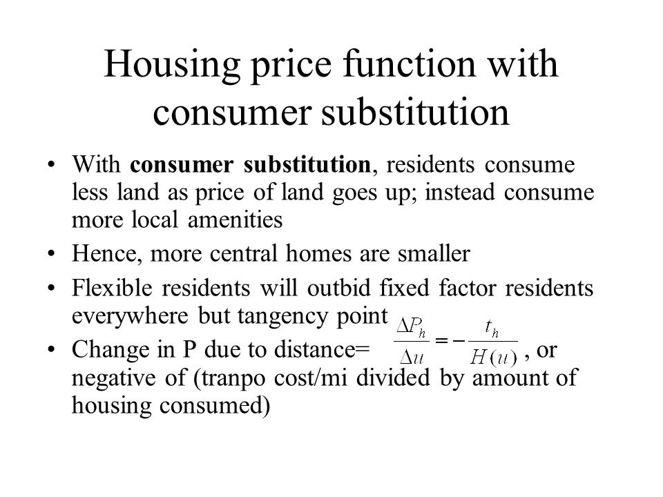 Housing price function with consumer substitution