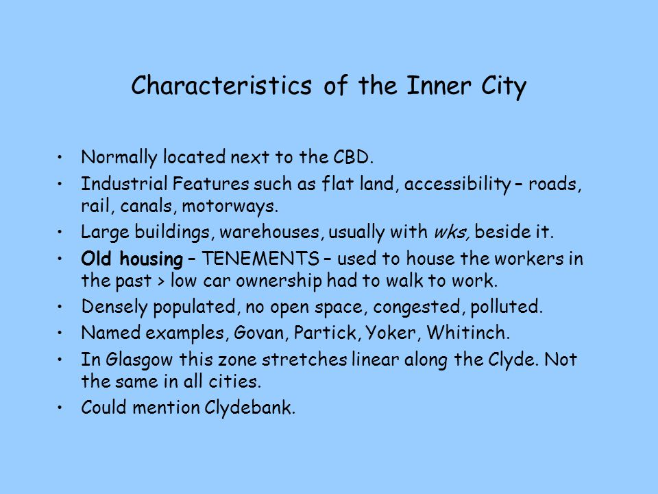 Characteristics of the Inner City