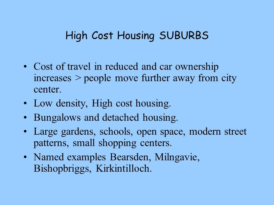 High Cost Housing SUBURBS