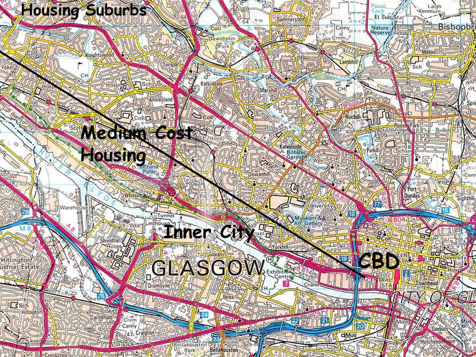 Glasgow OS Map CBD Medium Cost Housing Inner City