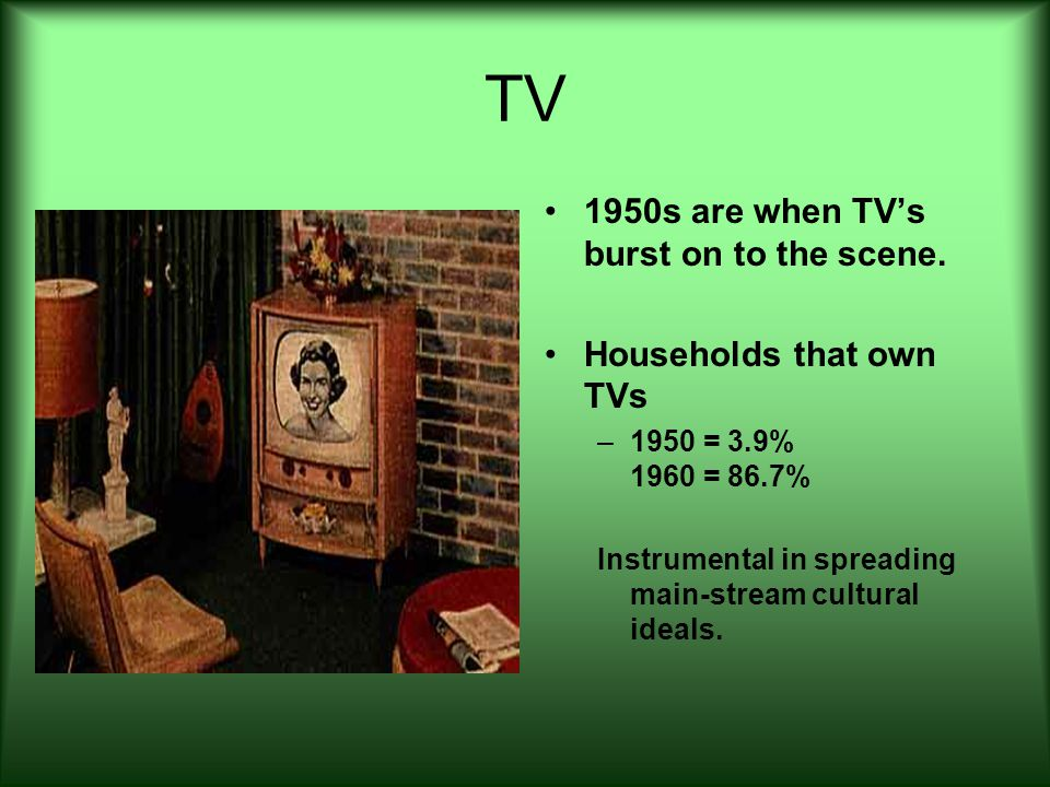 TV 1950s are when TV's burst on to the scene. Households that own TVs