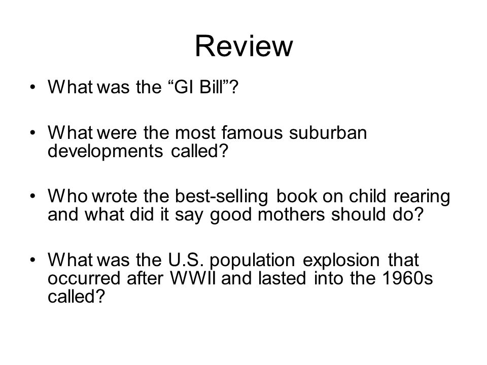 Review What was the GI Bill