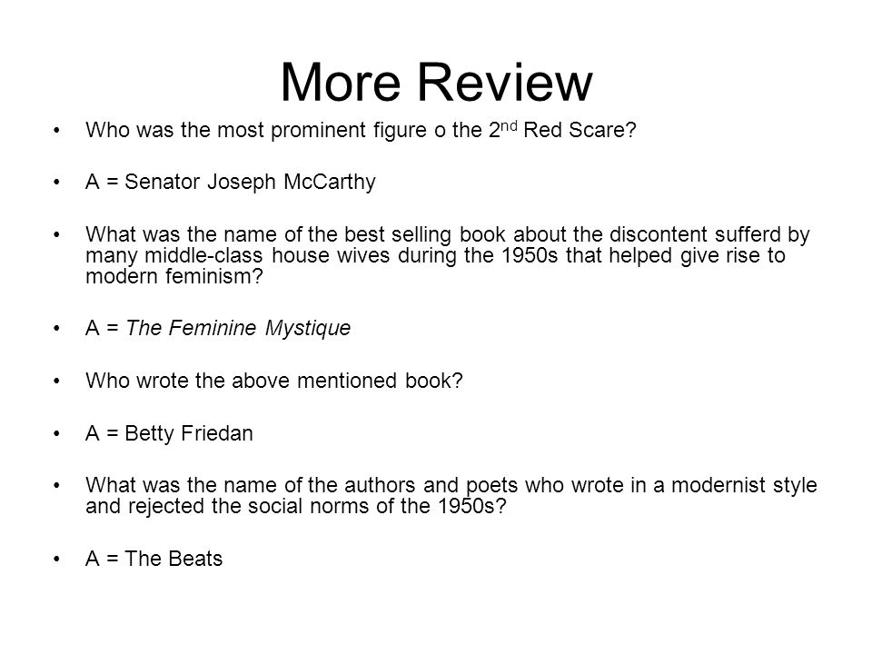 More Review Who was the most prominent figure o the 2nd Red Scare