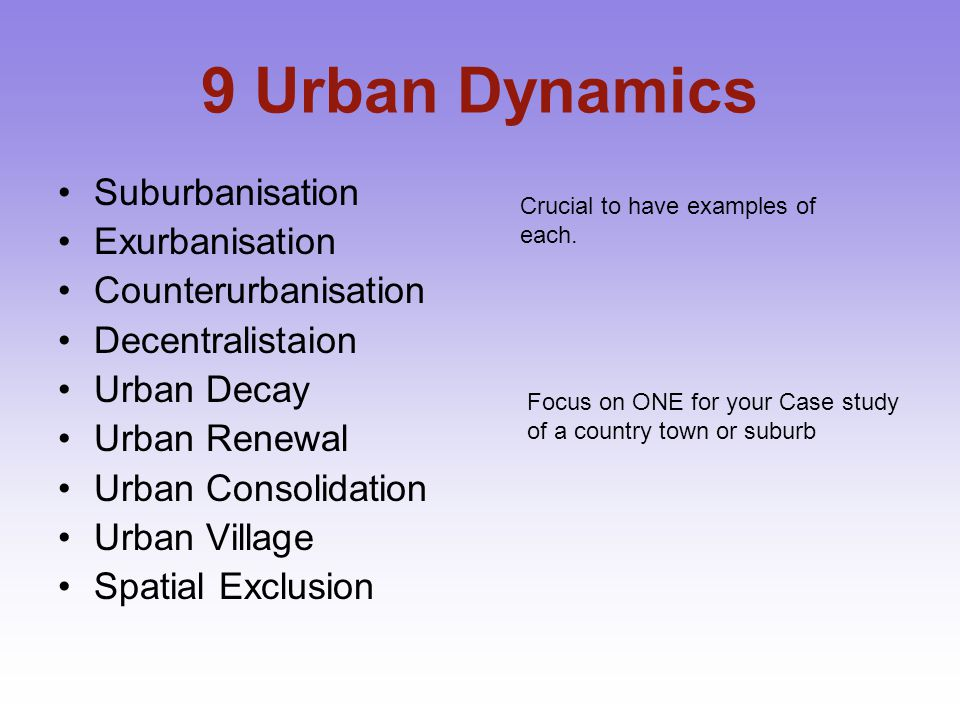 9 Urban Dynamics Suburbanisation Exurbanisation Counterurbanisation