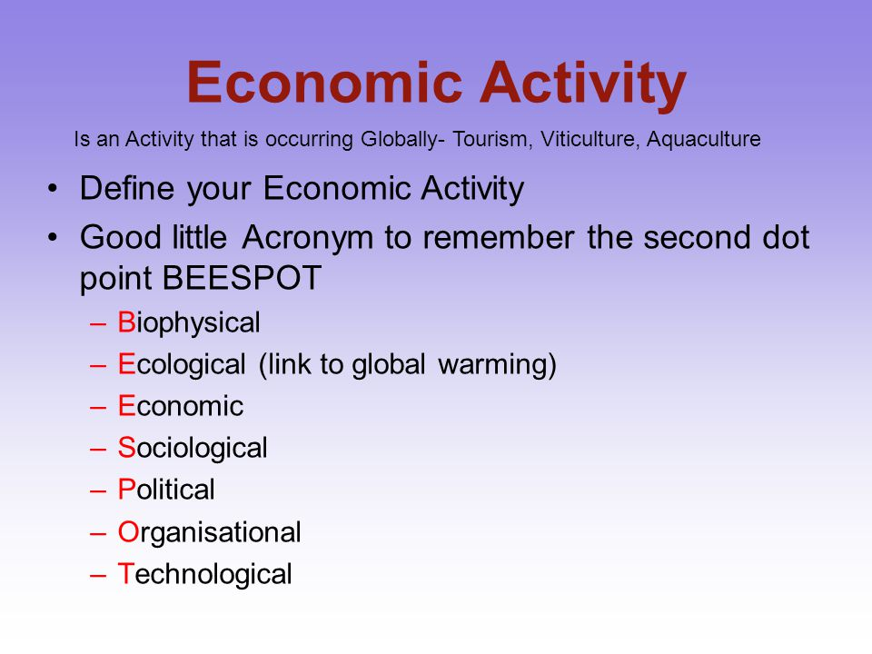Economic Activity Define your Economic Activity