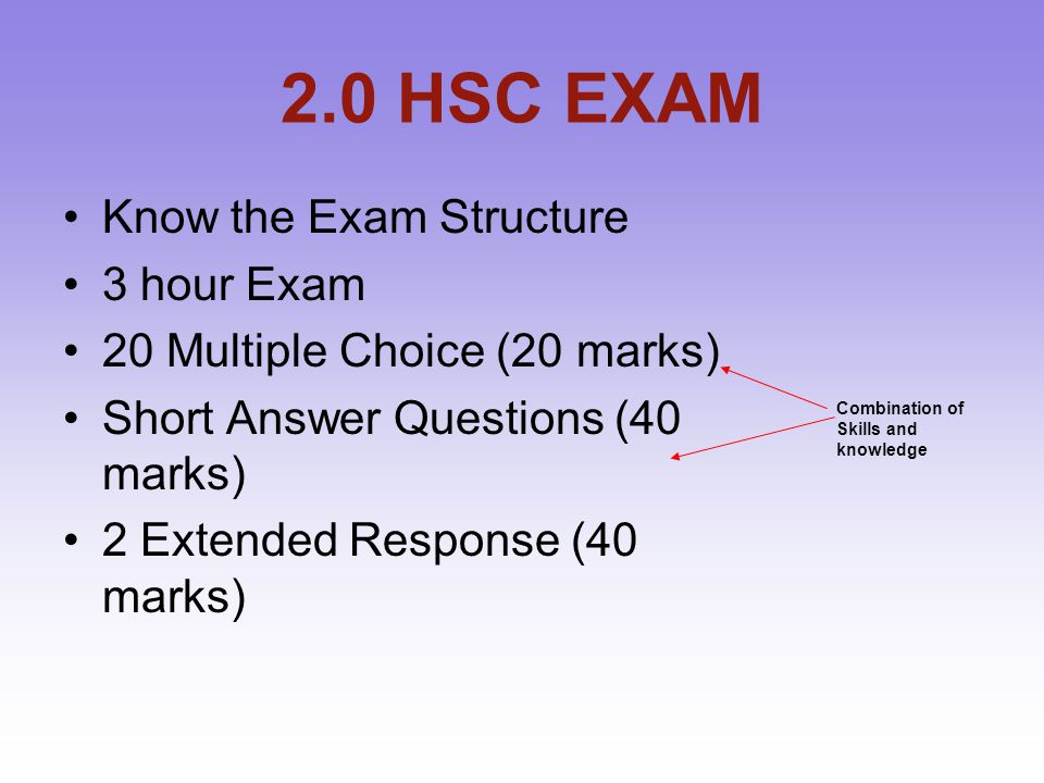 2.0 HSC EXAM Know the Exam Structure 3 hour Exam