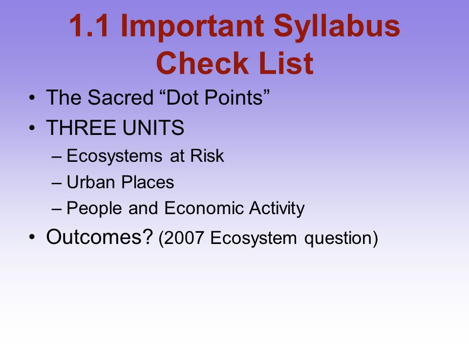 1.1 Important Syllabus Check List