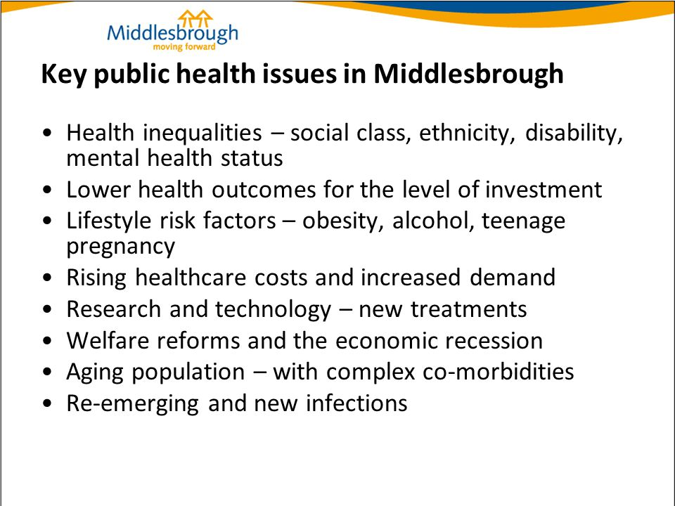 Key public health issues in Middlesbrough