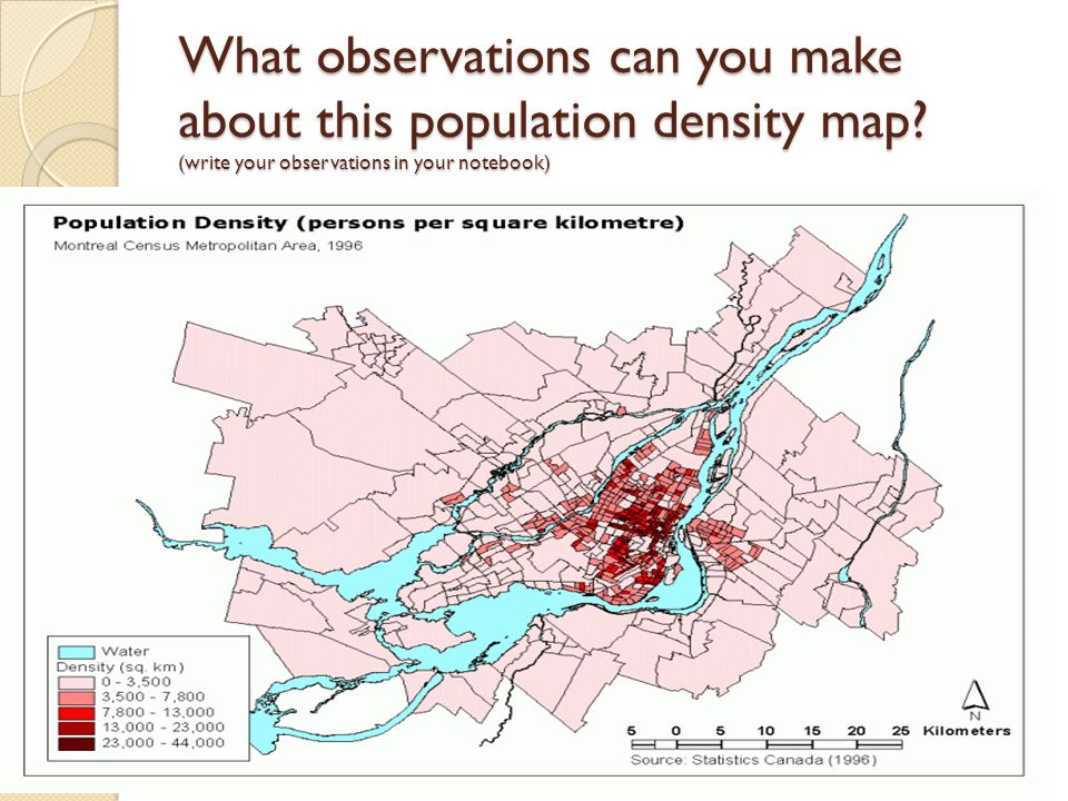 What observations can you make about this population density map