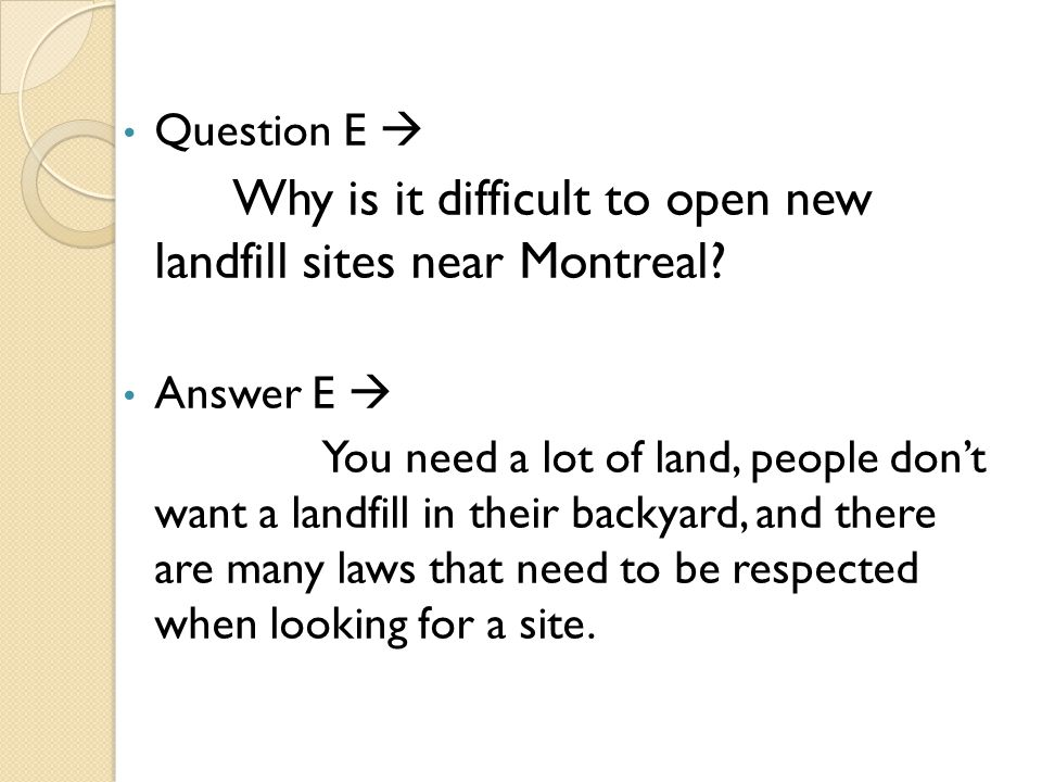 Why is it difficult to open new landfill sites near Montreal
