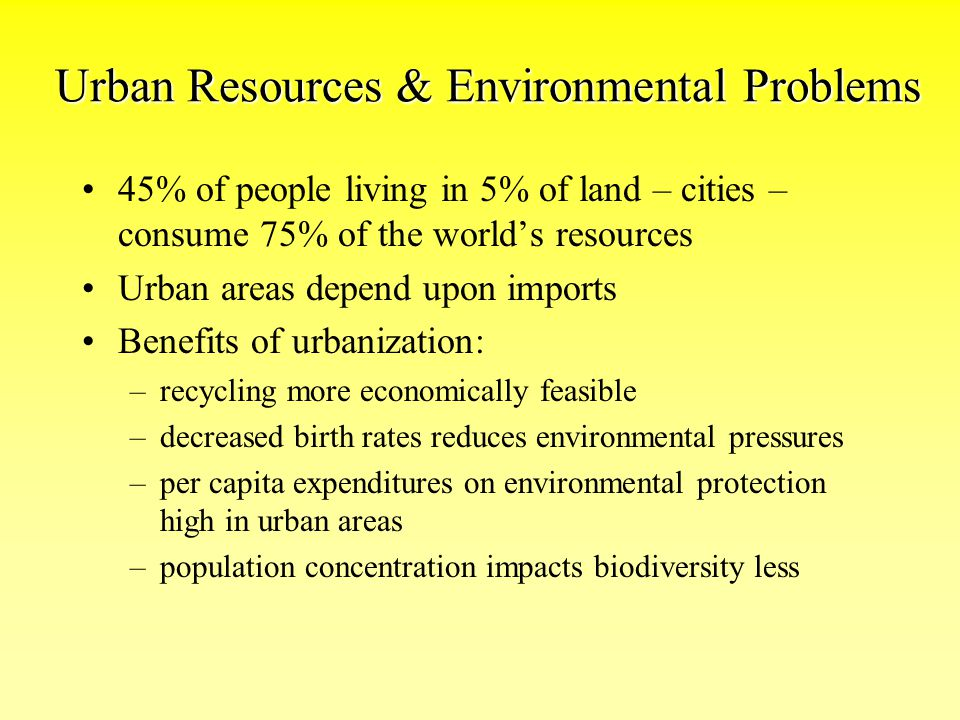 Urban Resources & Environmental Problems