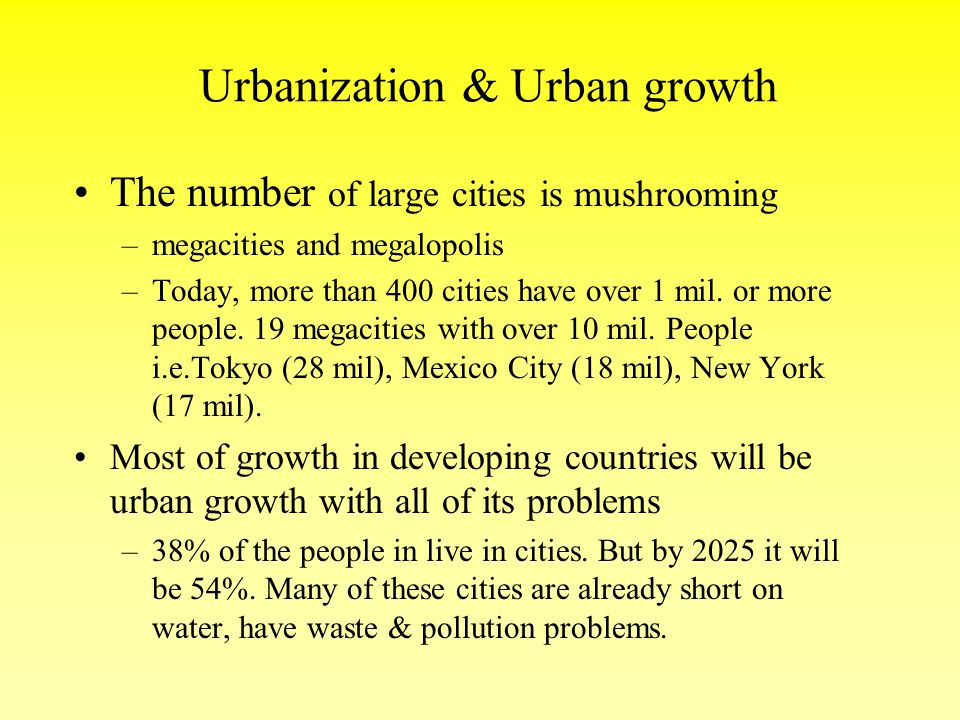 Urbanization & Urban growth
