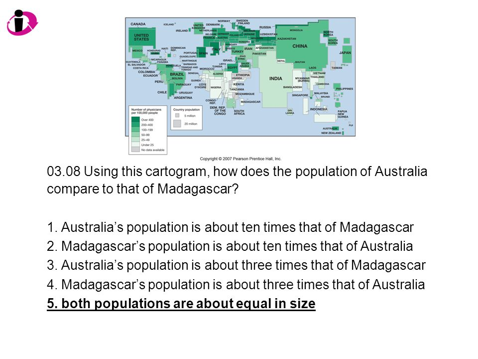 03.08 Using this cartogram, how does the population of Australia compare to that of Madagascar