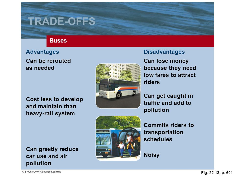 TRADE-OFFS Buses Advantages Disadvantages Can be rerouted as needed