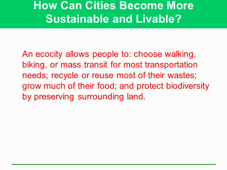 How Can Cities Become More Sustainable and Livable