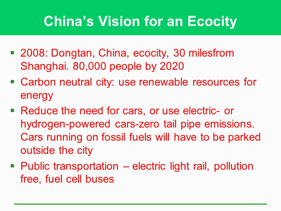 China's Vision for an Ecocity