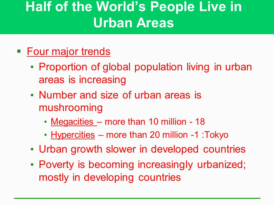 Half of the World's People Live in Urban Areas