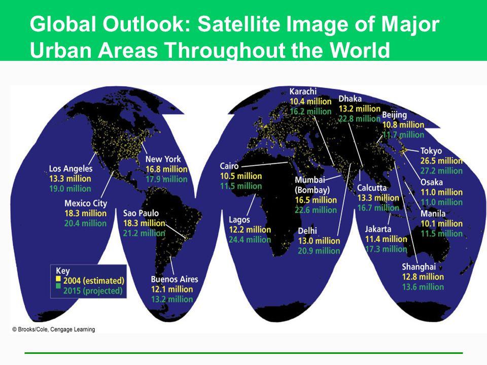 Global Outlook: Satellite Image of Major Urban Areas Throughout the World