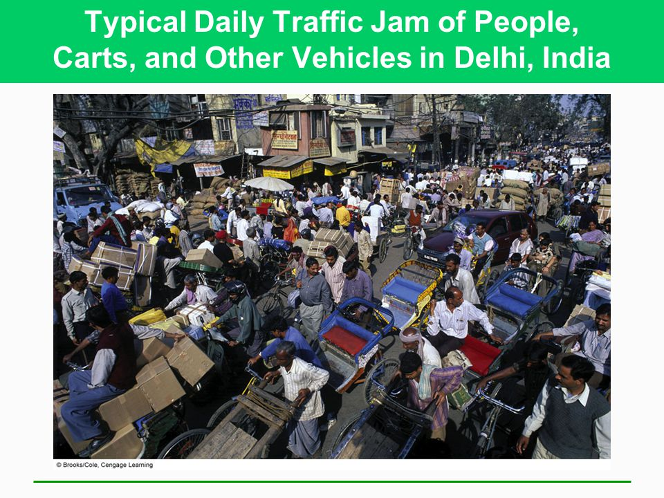 Typical Daily Traffic Jam of People, Carts, and Other Vehicles in Delhi, India