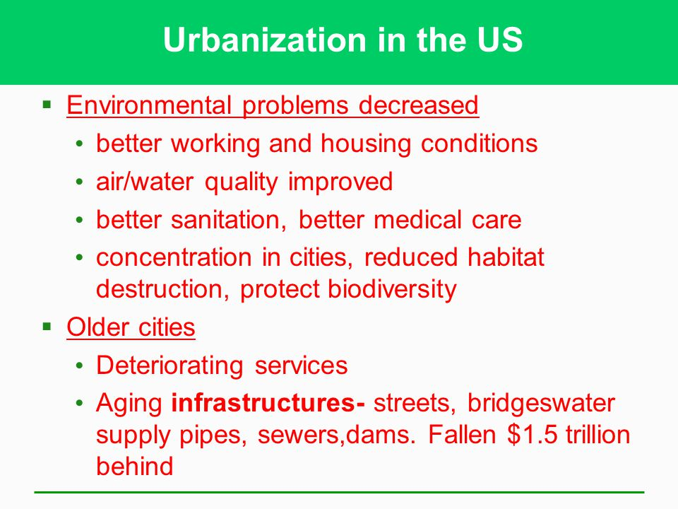 Urbanization in the US Environmental problems decreased