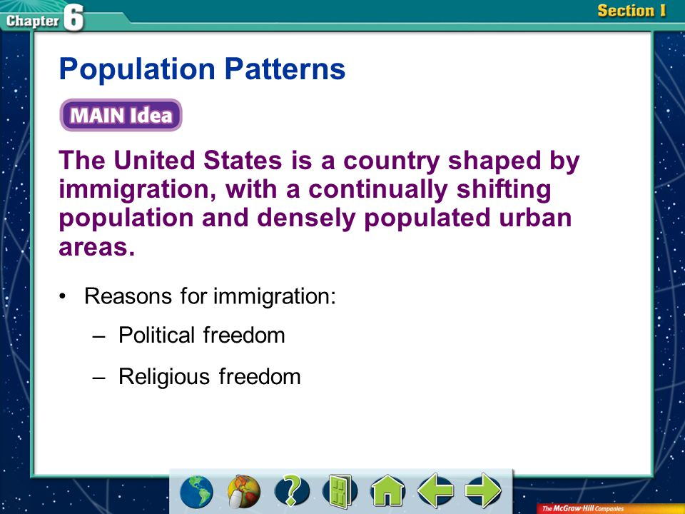 Population Patterns The United States is a country shaped by immigration, with a continually shifting population and densely populated urban areas.