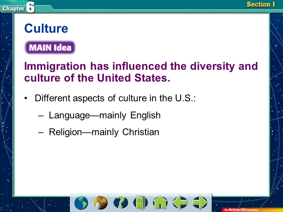 Culture Immigration has influenced the diversity and culture of the United States. Different aspects of culture in the U.S.: