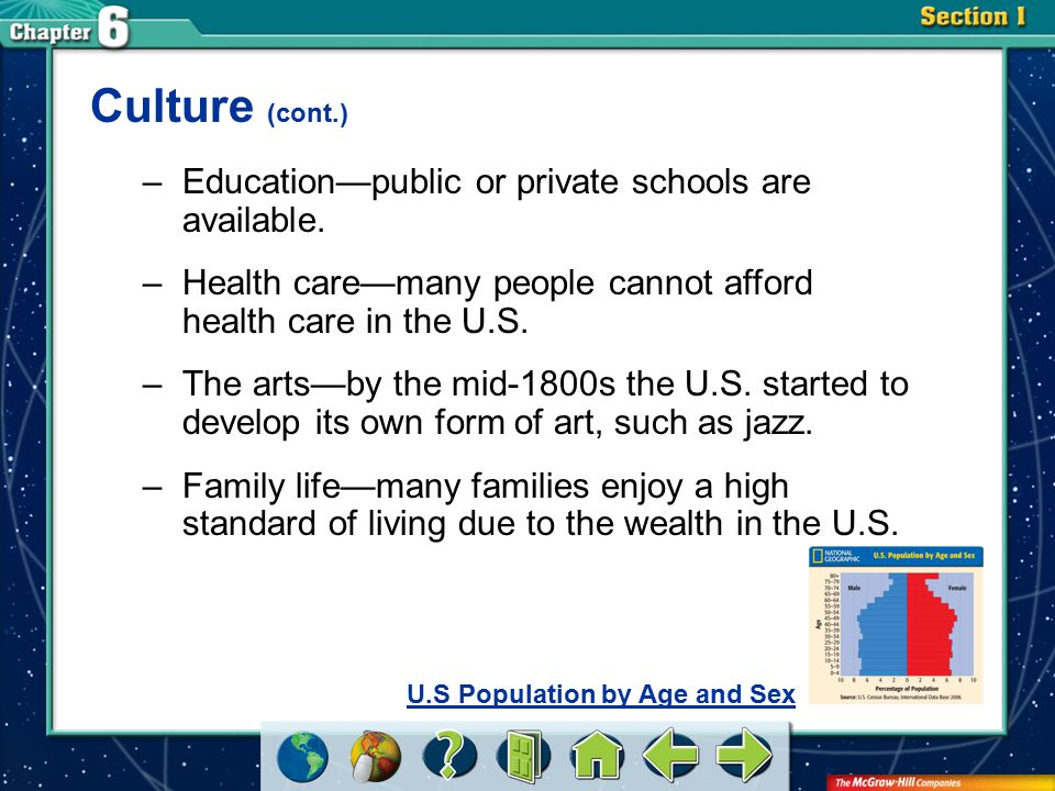Culture (cont.) Education—public or private schools are available.