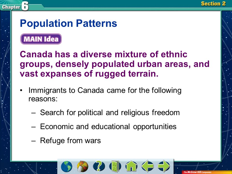Population Patterns Canada has a diverse mixture of ethnic groups, densely populated urban areas, and vast expanses of rugged terrain.