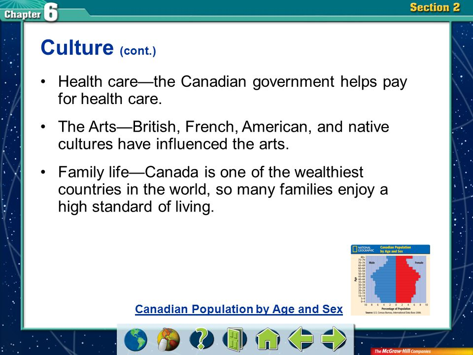 Culture (cont.) Health care—the Canadian government helps pay for health care.