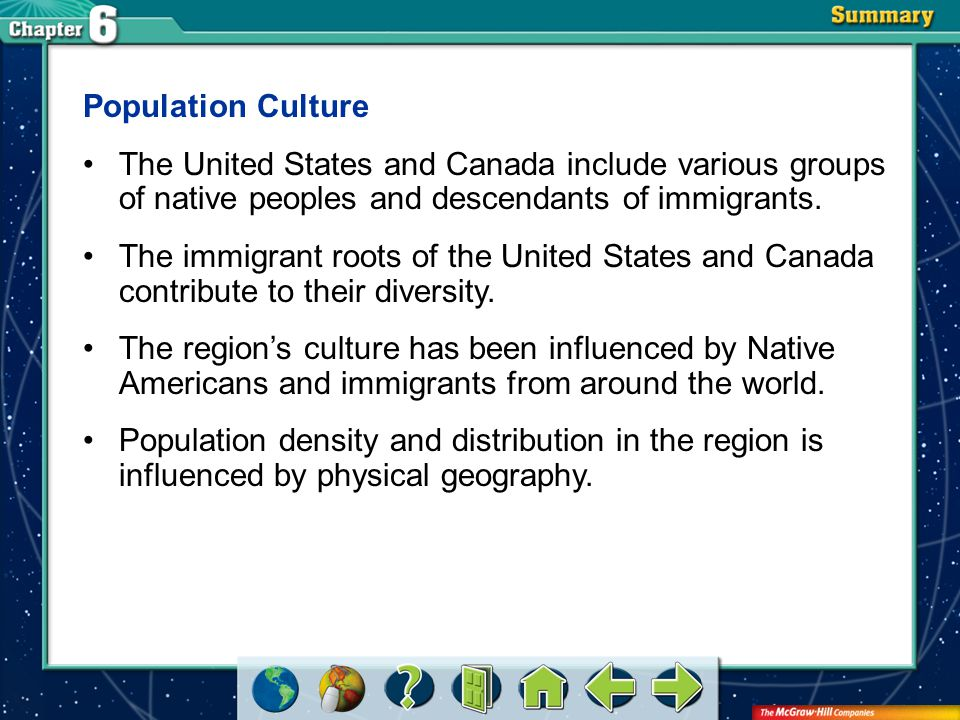 Population Culture The United States and Canada include various groups of native peoples and descendants of immigrants.