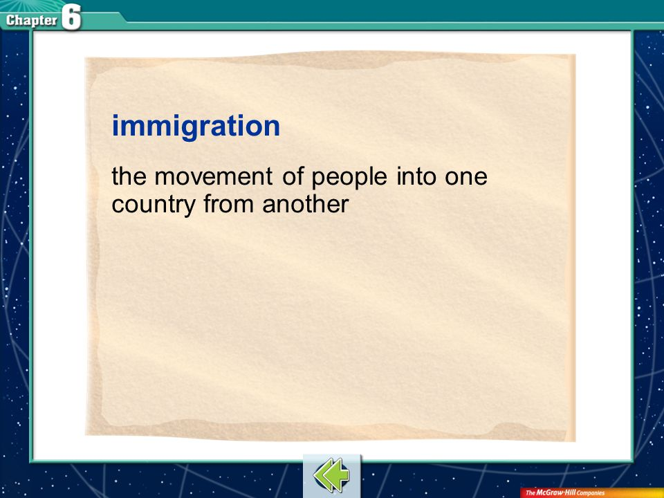 immigration the movement of people into one country from another