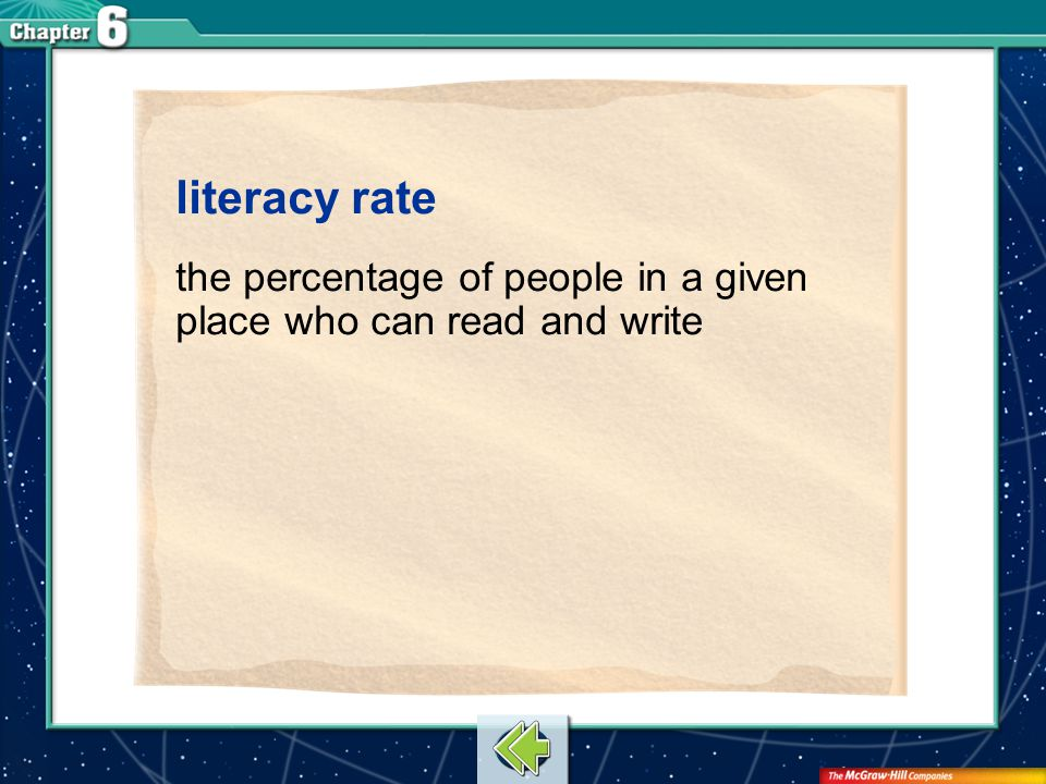 literacy rate the percentage of people in a given place who can read and write Vocab11