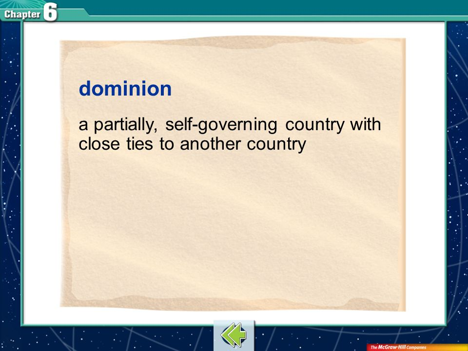 dominion a partially, self-governing country with close ties to another country Vocab16