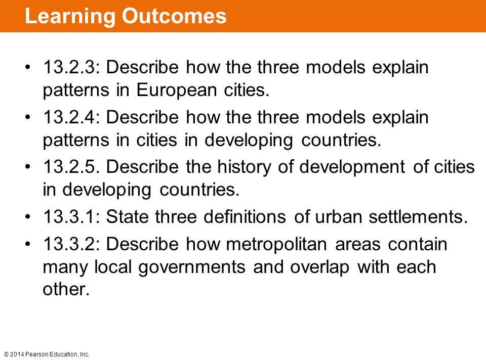 Learning Outcomes 13.2.3: Describe how the three models explain patterns in European cities.