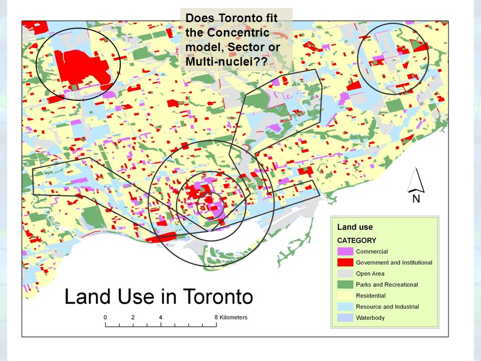 Does Toronto fit the Concentric model, Sector or Multi-nuclei