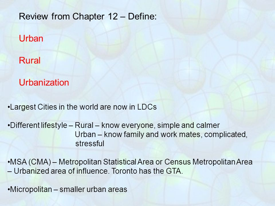 Review from Chapter 12 – Define: Urban Rural Urbanization