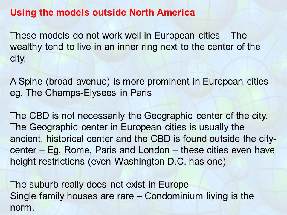 Using the models outside North America